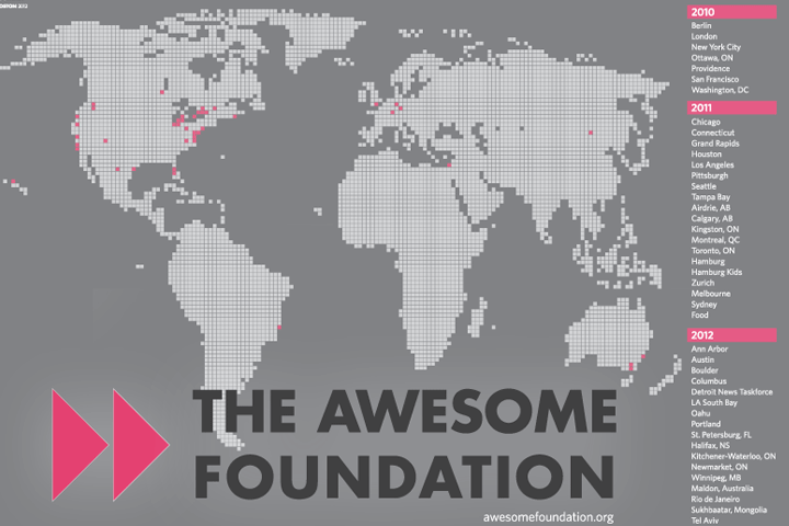 Poster design for Awesome Foundation international summit, summer 2012.